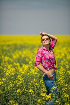 Free Young Beautiful Woman In Flowering Field In Summer. Outdoors Royalty Free Stock Image - 36009386