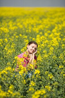 Free Young Beautiful Woman In Flowering Field In Summer. Outdoors Stock Images - 36009394