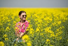 Free Young Beautiful Woman In Flowering Field In Summer. Outdoors Royalty Free Stock Image - 36009396