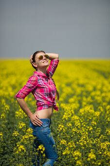 Free Young Beautiful Woman In Flowering Field In Summer. Outdoors Royalty Free Stock Images - 36009399
