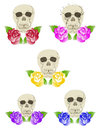 Free Five Duets Of Skulls And Roses Stock Images - 36013074