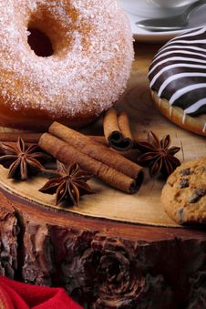 Sugared Donut And Chocolate Donut Stock Photos