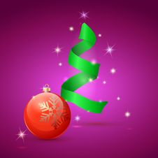 Free Christmas Tree And Ball On Green Background Stock Image - 36011411