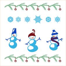 Free Snowman And Snowflakes Set Stock Images - 36011934