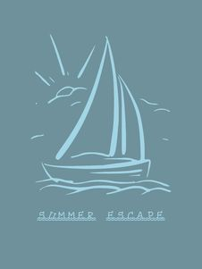 Free Hand Drawn Background With Sailboat. Vector Eps8 Royalty Free Stock Photos - 36015028