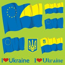 Free Set Of Flags Ukraine And EU Stock Images - 36017724