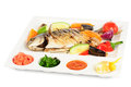 Free Fried Wish With Grilled Vegetables And Sauces Stock Photography - 36023692