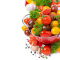 Free Assorted Cherry Tomatoes In A Colander, Spices And Fresh Herbs Royalty Free Stock Photo - 36026885