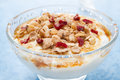 Free Dessert Of Natural Yogurt With Maple Syrup, Granola And Nuts Stock Photo - 36027220