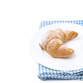 Free Fresh Croissant On A Plate, Isolated Stock Image - 36027251