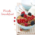Free Homemade Granola With Fresh Berries And Jug Of Milk, Isolated Royalty Free Stock Photos - 36027278
