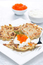 Free Potato Pancakes With Red Caviar And Sour Cream, Vertical Stock Photo - 36027320