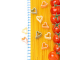 Free Spaghetti, Pasta In The Form Of Hearts And Cherry Tomatoes Royalty Free Stock Images - 36027399