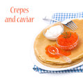 Free Traditional Crepes With Red Caviar And Sour Cream On The Plate Stock Photos - 36027453