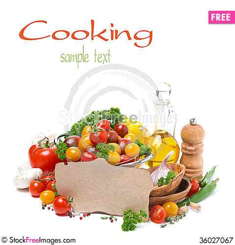 Free Assorted Of Cherry Tomatoes, Oil, Herbs And Paper For The Recipe Royalty Free Stock Photography - 36027067