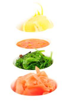 Pickled Ginger, Chuka Sea Weed, Hot Sauce And Lemon. Stock Image