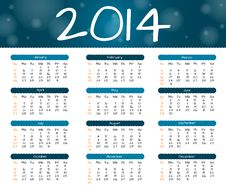 Free 2014 Year Calendar Stock Images - 36026294