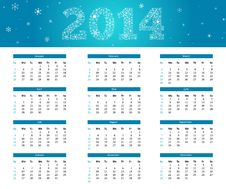 Free 2014 Snowflake Calendar Stock Photos - 36026323