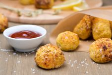 Chicken Meatballs With Tomato Sauce On A Wooden Table, Close-up Royalty Free Stock Image