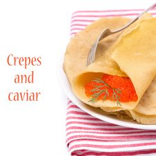 Free Crepes With Red Caviar, Isolated Royalty Free Stock Images - 36027169