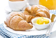 Croissants With Butter, Espresso And Orange Juice For Breakfast Royalty Free Stock Photos