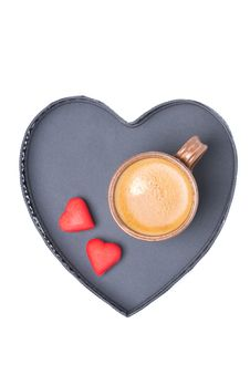 Espresso Cup And Candy On A Tray In The Form Of Heart, Isolated Royalty Free Stock Photo