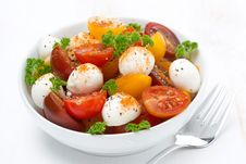 Salad With Mozzarella And Colorful Cherry Tomatoes, Close-up Stock Image