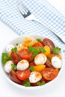Salad With Mozzarella And Colorful Cherry Tomatoes, Top View Stock Photography