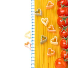 Spaghetti, Pasta In The Form Of Hearts And Cherry Tomatoes Royalty Free Stock Images
