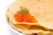 Stack Of Crepes With Red Caviar On A Plate, Close-up Stock Photography