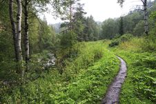 Free Path For Hiking On A Mountain Slope Sinyuha. Stock Photography - 36027782