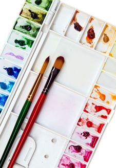 Free Paintbrush And Palette Royalty Free Stock Photos - 36030528