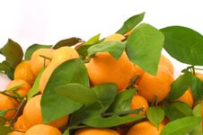 Free Tangerines With Leaves From Above Stock Images - 36033574