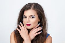 Free Beautiful Girl With Bridht Makeup And Manicure Stock Photos - 36037683