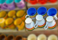 Colorful Bone China Cups Royalty Free Stock Photography