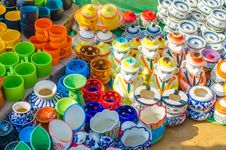 Colorful Bone China Cups And Pots Royalty Free Stock Photos