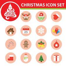 Christmas Symbol Icon Set Stock Images