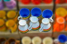 Free Colorful Bone China Cups Stock Image - 36039581