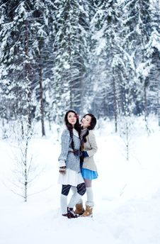 Free Fashion Women In Warm Sweaters On White Snow Forest Background Stock Photos - 36040013