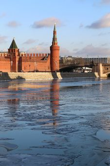 River Landscape With The Moscow Kremlin Stock Images