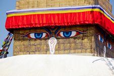 Eye Of Tibetan Stupa Boudnath Royalty Free Stock Images