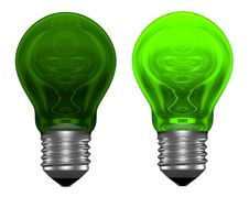 Free Green Light Bulbs, One Glowing, Another Not Stock Photos - 36044203
