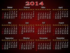 Beautiful Claret Calendar For 2014 Year In German Stock Photography