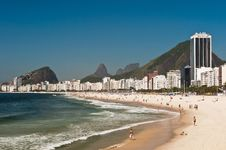 Beautiful Copacabana Beach On A Sunny Day Royalty Free Stock Photos