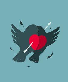 Bullfinch Birds Heart Love Couple With Arrow Stock Images