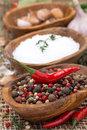 Free Hot Pepper, Sea Salt And Spices In Bowls, Close-up Royalty Free Stock Image - 36070536