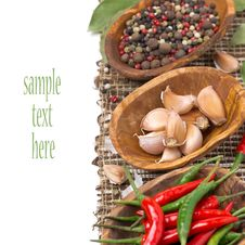 Free Garlic And Spices In Bowls, Isolated Royalty Free Stock Photography - 36070427
