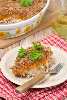 Free Gratin With Fish And Pumpkin On The Plate Royalty Free Stock Photos - 36070468
