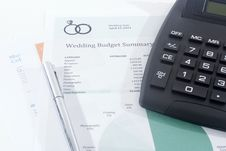 Free Wedding Budget With Calculator And Pen Royalty Free Stock Image - 36078446