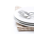 Free Tableware For Dinner - Plates And Forks, Isolated On White Stock Image - 36082841